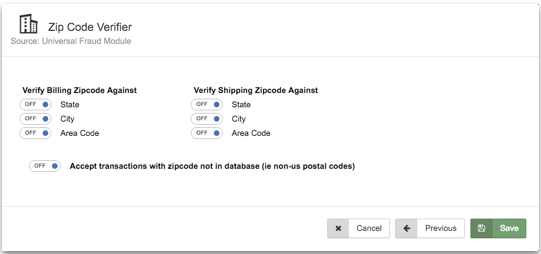 To verify against the billing and shipping zip code State, City or Area code switch the button to Overview