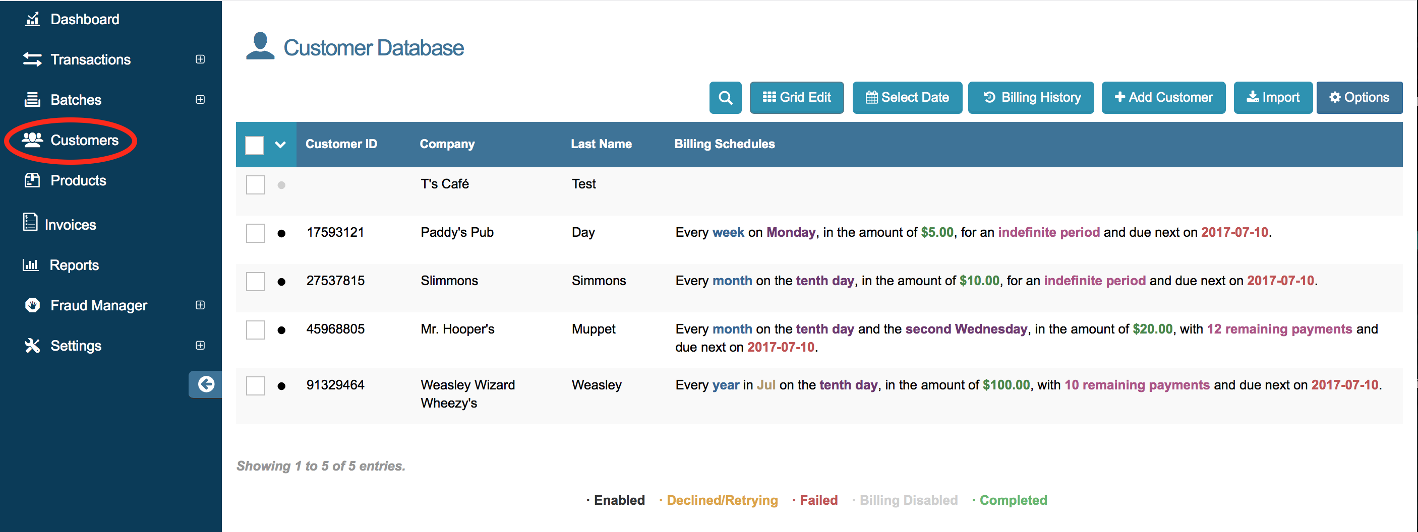 access customer database